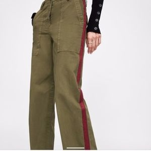 Zara Olive Green Pants with Red side stripe